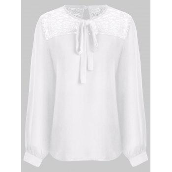 Hollow Out Lace Trim Blouse - WHITE M