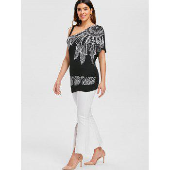 Ethnic Print Skew Neck T-shirt - BLACK 2XL