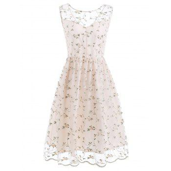 Tiny Flower Lace Overlay Cocktail Dress - SEASHELL L