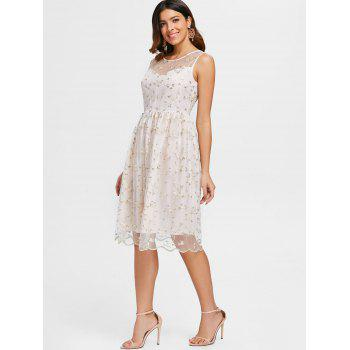 Tiny Flower Lace Overlay Cocktail Dress - SEASHELL XL