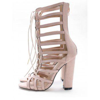 High Heel Cadged Hollow Out Gladiator Sandals - SAKURA PINK 36