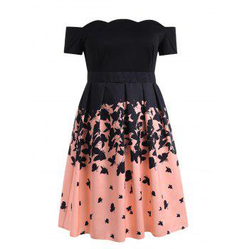 Plus Size Off Shoulder Retro Butterflies Dress - BLACK 2X
