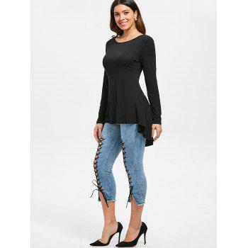 Cut Out High Low Swing T-shirt - BLACK L