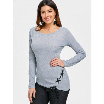 Criss Cross Fitted Top - GRAY L