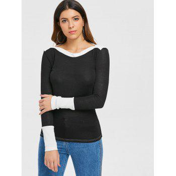 Slim Fit Boat Neck Top - BLACK L