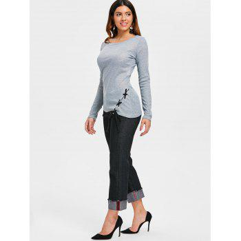 Criss Cross Fitted Top - GRAY M