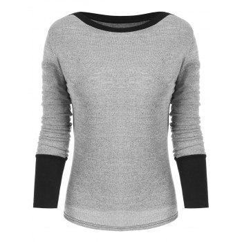 Slim Fit Boat Neck Top - GRAY L