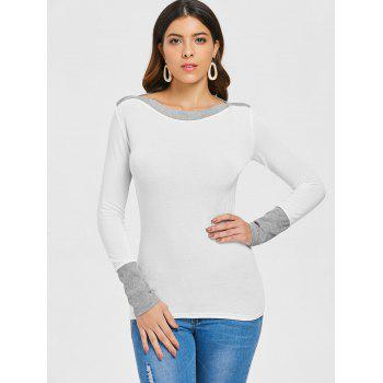 Slim Fit Boat Neck Top - WHITE XL
