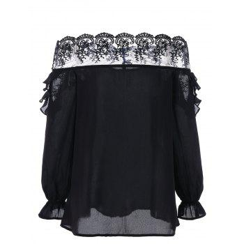 Off The Shoulder Ruffled Mesh Panel Top - BLACK L