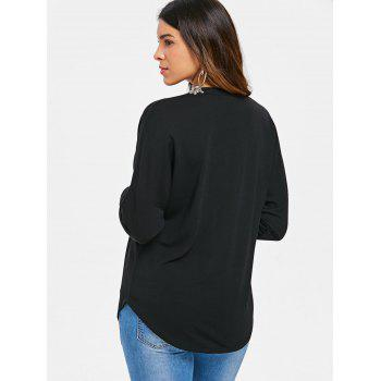 Lace Up Batwing Sleeve T-shirt - BLACK M