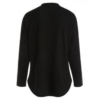 Lace Up Batwing Sleeve T-shirt - BLACK L