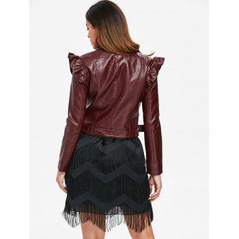 Ruffle Lapel Motorcycle Jacket - RED WINE L