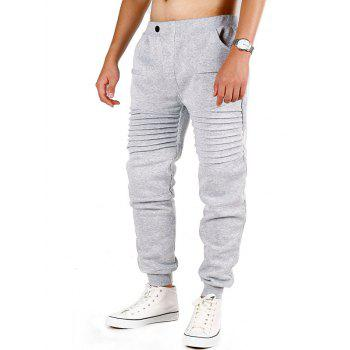Pleated Button Fly Sport Jogger Pants - LIGHT GRAY M
