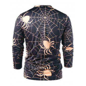 Long Sleeve Spider Spider Wed Print T-shirt - BLACK 2XL