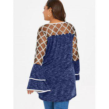 Plus Size Plaid Sheer Yoke Bell Sleeve T-shirt - EARTH BLUE L