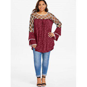 Plus Size Plaid Sheer Yoke Bell Sleeve T-shirt - RED WINE L