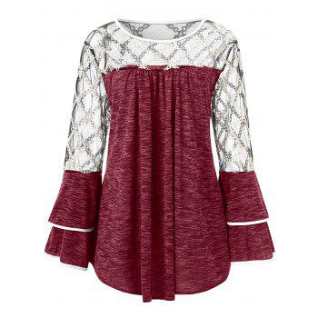 Plus Size Plaid Sheer Yoke Bell Sleeve T-shirt - RED WINE 1X