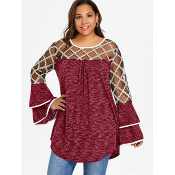 Plus Size Plaid Sheer Yoke Bell Sleeve T-shirt - RED WINE 3X