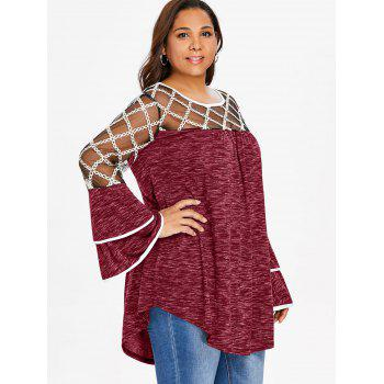 Plus Size Plaid Sheer Yoke Bell Sleeve T-shirt - RED WINE 4X