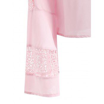 Flare Sleeve Lace Panel Top - PINK BUBBLEGUM L