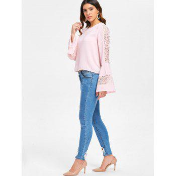 Flare Sleeve Lace Panel Top - PINK BUBBLEGUM S