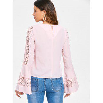Flare Sleeve Lace Panel Top - PINK BUBBLEGUM M