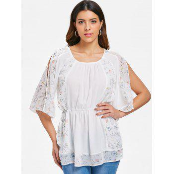 Flare Print Long Blouse - WHITE 2XL