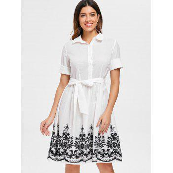 Embroidered Belted Shirt Dress - WHITE XL