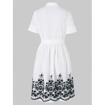 Embroidered Belted Shirt Dress - WHITE L