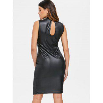 Sleeveless Faux Leather Bodycon Dress - BLACK M