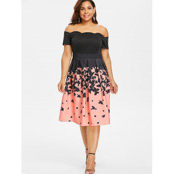 Plus Size Off Shoulder Retro Butterflies Dress - BLACK 1X