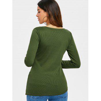 Criss Cross Fitted Top - ARMY GREEN S
