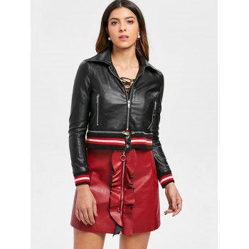 Faux Leather Striped Biker Jacket - BLACK M