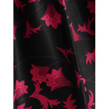 Print Knee Length Flared Dress - BLACK M