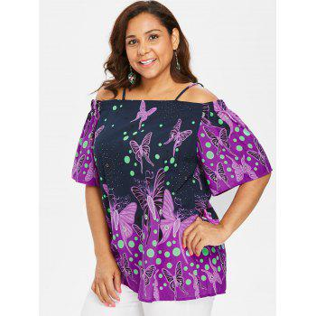 Plus Size Butterfliy Print Long Blouse - MIDNIGHT BLUE 1X
