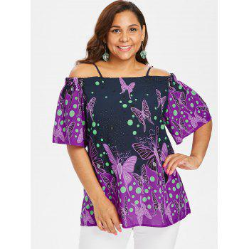 Plus Size Butterfliy Print Long Blouse - MIDNIGHT BLUE 5X