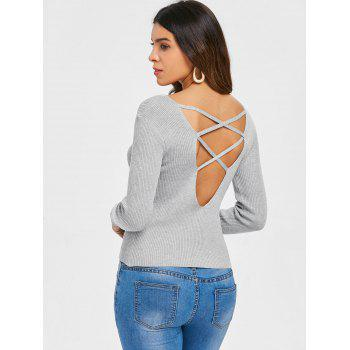 V Neck Criss Cross Sweater - GRAY L