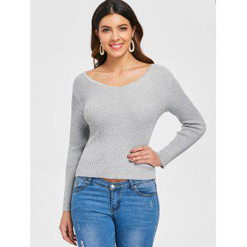 V Neck Criss Cross Sweater - GRAY XL