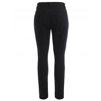 Fitted Splash Pattern Jeans - BLACK L