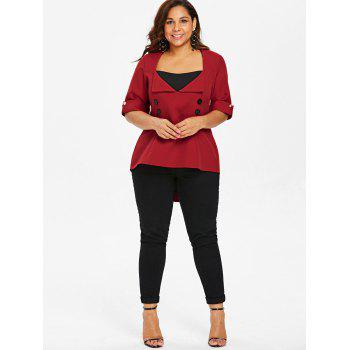 Plus Size Back Criss Cross High Low Top - RED L