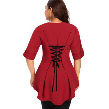 Plus Size Back Criss Cross High Low Top - RED 5X