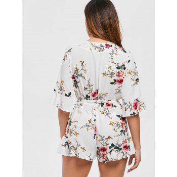 Floral Print Plunge Romper - WHITE XL
