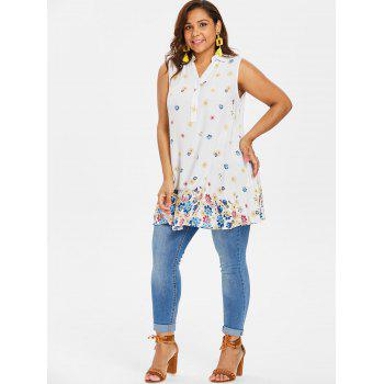 Plus Size Buttoned Floral Tank Top - WHITE XL