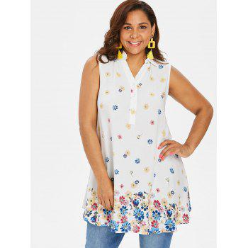 Plus Size Buttoned Floral Tank Top - WHITE 3XL