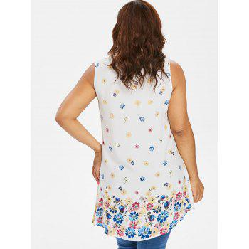 Plus Size Buttoned Floral Tank Top - WHITE 5XL
