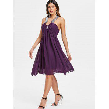 Sequined Collar Open Back Cocktail Dress - PURPLE JAM XL