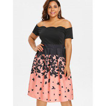Plus Size Off Shoulder Retro Butterflies Dress - BLACK L