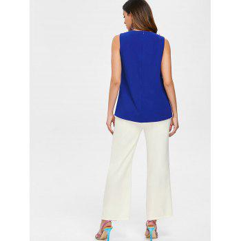 Overlap Top and Buttoned Wide Leg Pants - BLUE L