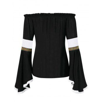 Off The Shoulder Bell Sleeve Embroidered Blouse - BLACK L