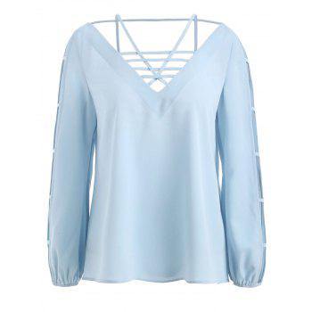 Strappy Ladder Cut Out Top - BABY BLUE M